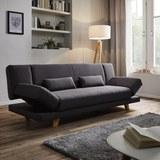 XL Schlafsofa Faith inkl. Kissen - Dunkelgrau, MODERN, Holz/Textil (200/73/83cm) - MODERN LIVING