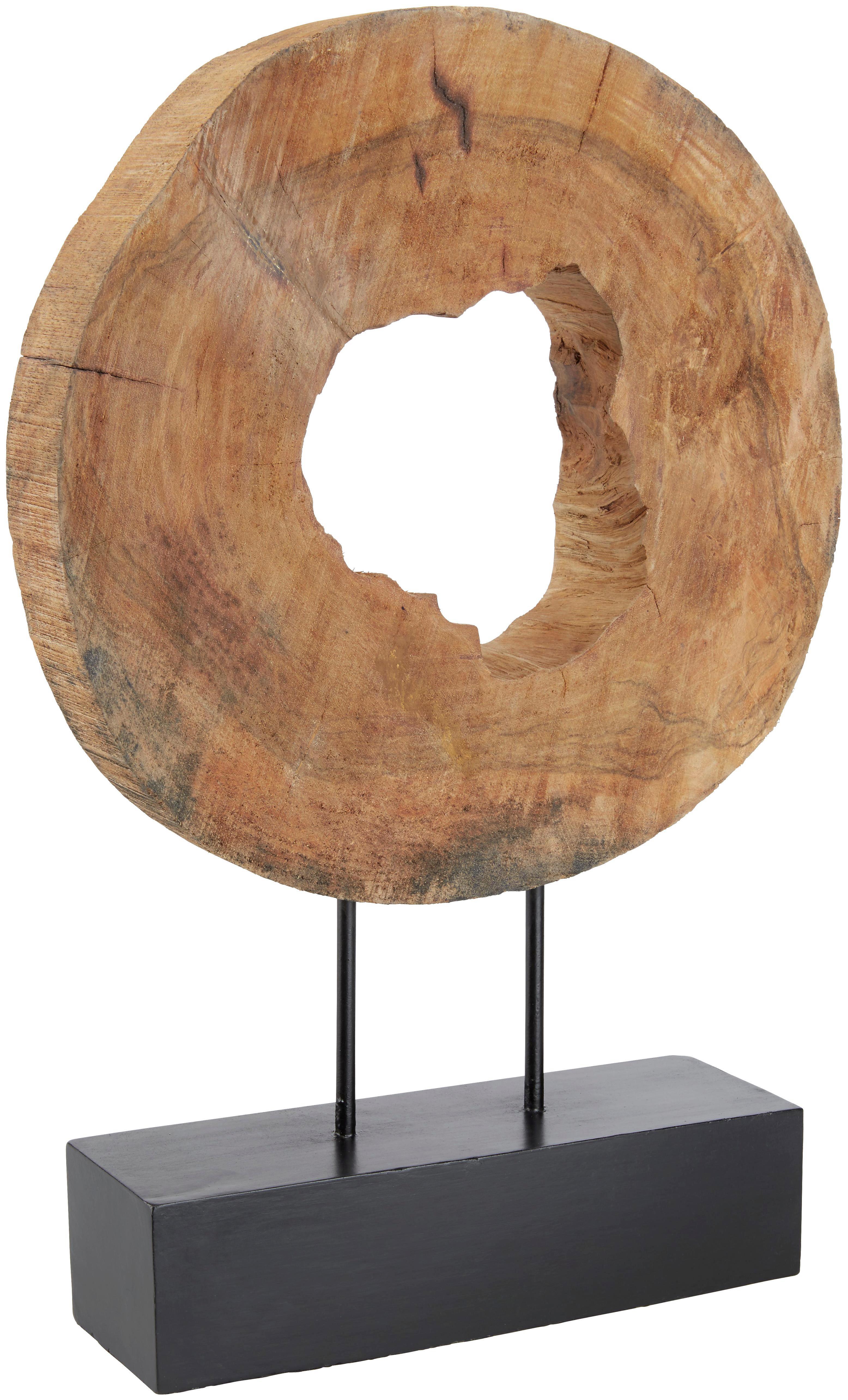 Skulptur Shanter in Natur/Schwarz - Schwarz/Naturfarben, ROMANTIK / LANDHAUS, Holz/Metall (38/52/8cm) - MÖMAX modern living