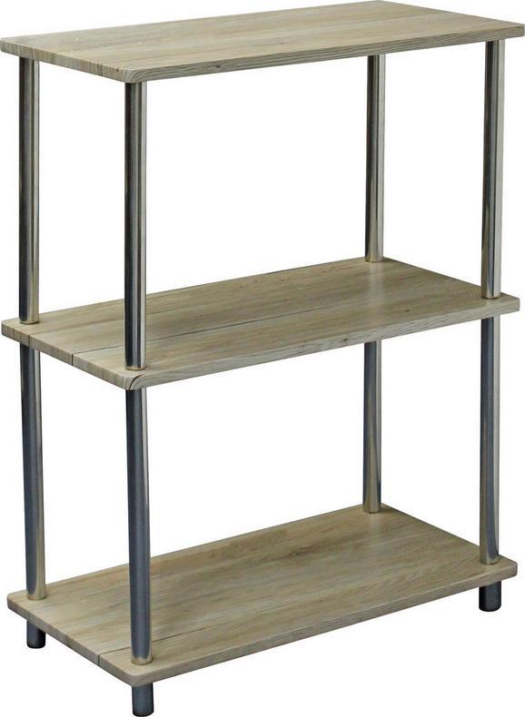 Polc Timilli 1 - krómszínű/tölgy színű, modern, fém/faanyagok (60/76/30cm)
