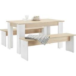 Tischgruppe in Eichefarben inkl. Sitzbank - Eichefarben/Weiß, MODERN, Holzwerkstoff (138,5/45/75/37/80cm) - Based