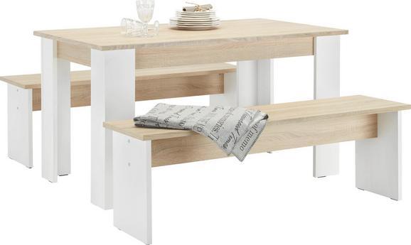 Tischgruppe Weiß/Eichefarben - Eichefarben/Weiß, MODERN, Holzwerkstoff (138,5/45/75/37/80cm) - Based