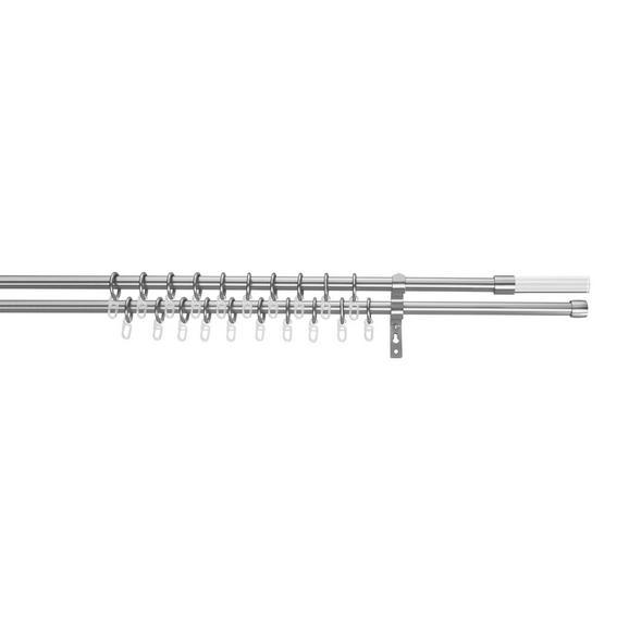 Vorhangstangenset Klaas Edelstahlfarben - Edelstahlfarben, Metall (240cm) - Premium Living