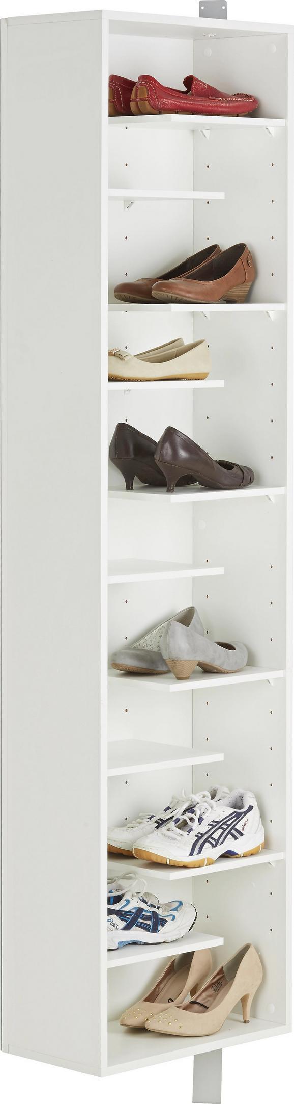 Schuhschrank Weiß - Weiß, MODERN, Glas/Holzwerkstoff (45/176/25cm) - Mömax modern living