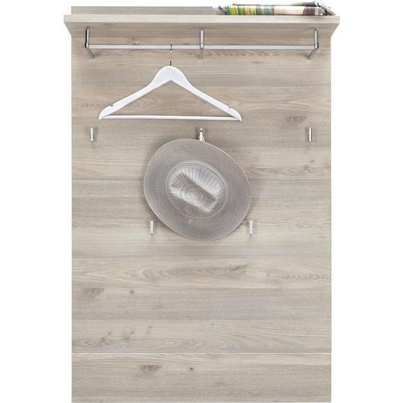 Garderobenpaneel in Weiß/Silbereichenfarben - Weiß/Silbereichenfarben, MODERN, Holz (85/128/30cm) - Premium Living