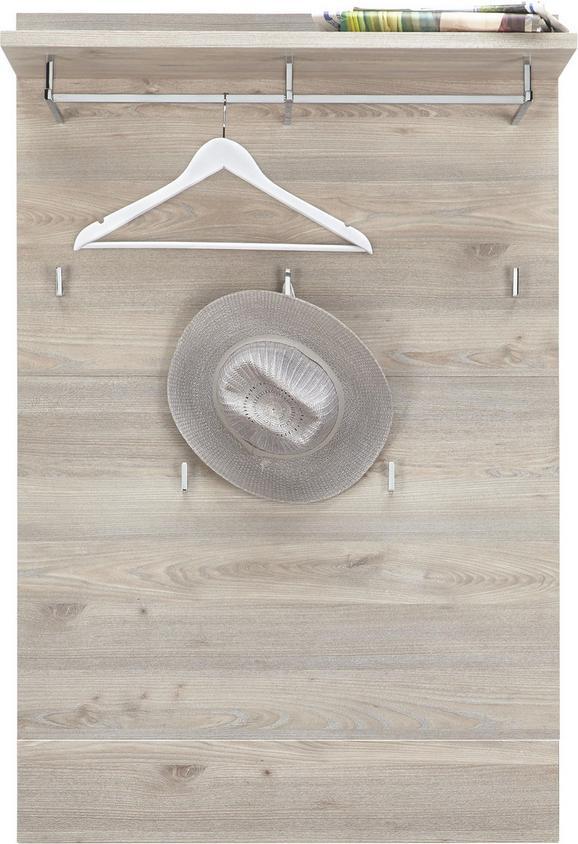 Garderobni Panel Funny - bela/srebrni hrast, Moderno, les (85/128/30cm) - Premium Living