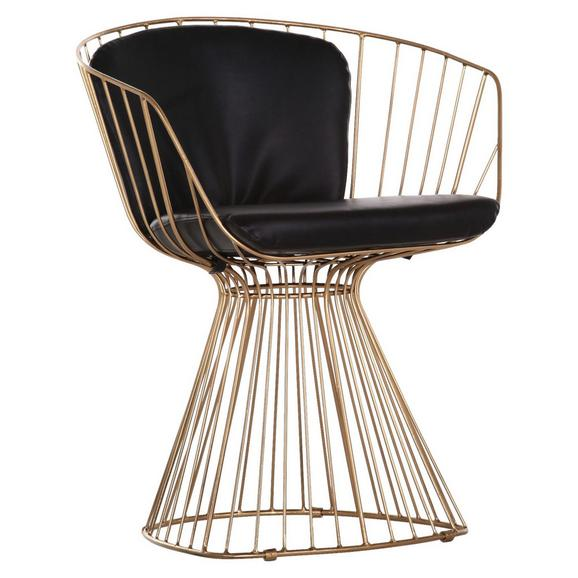 Stuhl in Goldfarben - Goldfarben/Schwarz, MODERN, Metall (61/77/61cm) - Premium Living