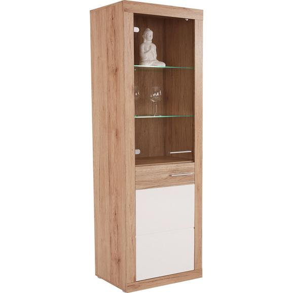 Vitrină Malta - alb/culoare lemn stejar, Modern, compozit lemnos/pahar (63,9/196,6/34,9cm)