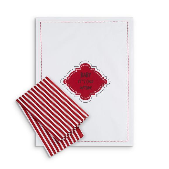 Geschirrtuch-Set Baby it´s cold in Rot/Weiß - Rot/Weiß, Textil (50/70cm) - Modern Living