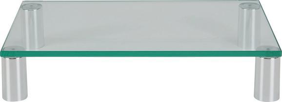 Schreibtischaufsatz aus Glas und Kunststoff - Chromfarben/Klar, Glas/Kunststoff (45/8/25cm)