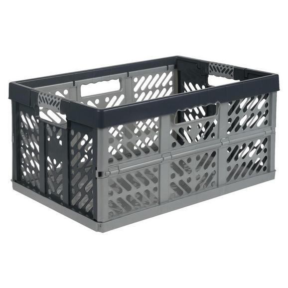 Klappbox Ben in Anthrazit/Silberfarben - Anthrazit/Silberfarben, Kunststoff (54/37/28cm) - Modern Living