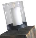 Windlicht Ria inkl. Glas H ca. 84,5 cm - Dunkelbraun, Glas/Holz (20/20/84,5cm) - Mömax modern living