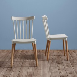 STUHL Celine - Buchefarben/Weiß, MODERN, Holz/Kunststoff (43,5/82/51,5cm) - Modern Living