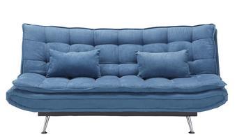 Schlafsofa mit Bettfunktion - Silberfarben/Dunkelblau, Holz/Textil (196/92/98cm) - MODERN LIVING
