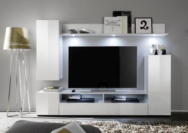 Wohnwand Weiß Hochglanz   Silberfarben/Weiß, MODERN,  Holzwerkstoff/Kunststoff (208/