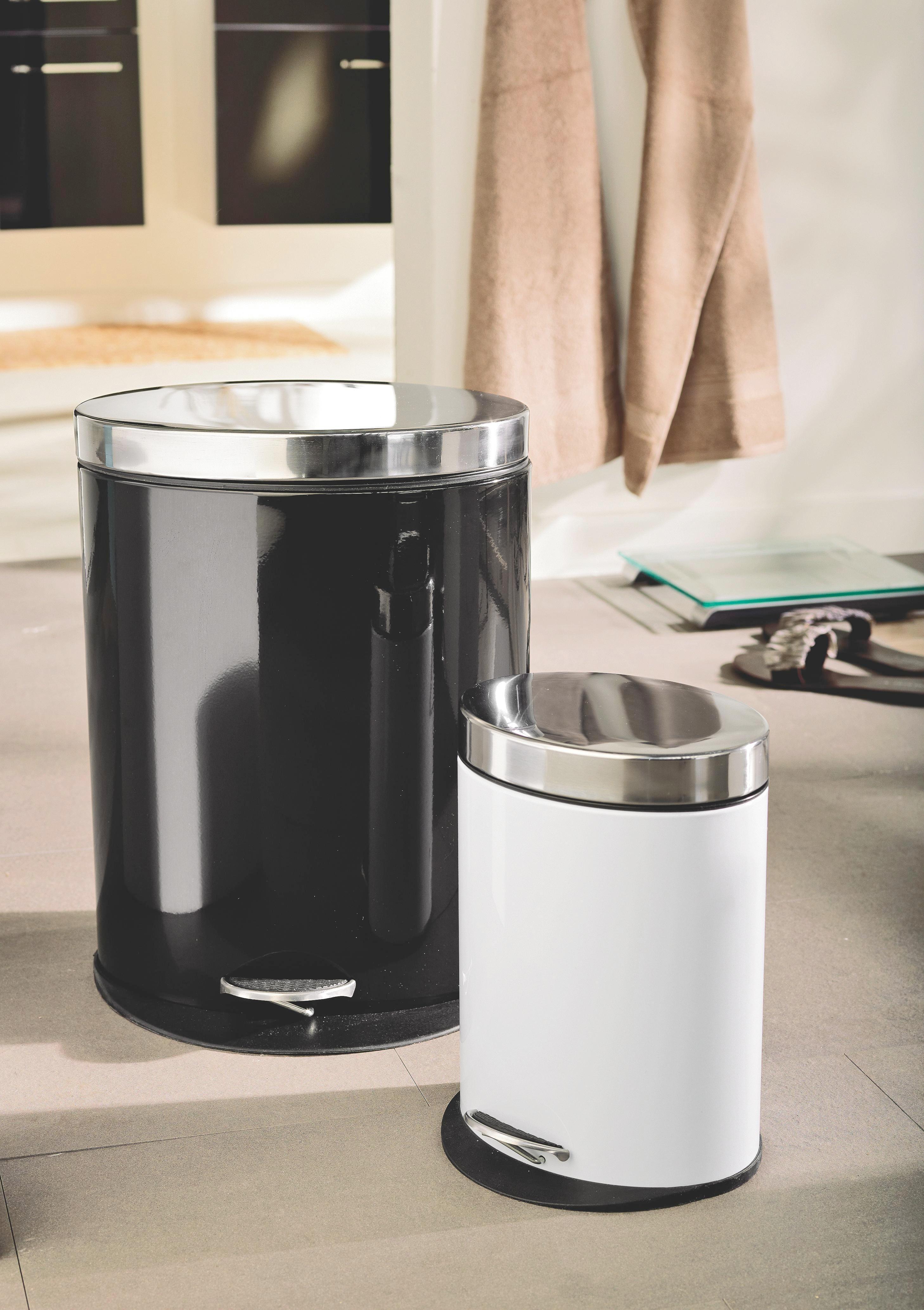 Pedálos Szemetes Fehér - fekete/fehér, modern, műanyag/fém - MÖMAX modern living