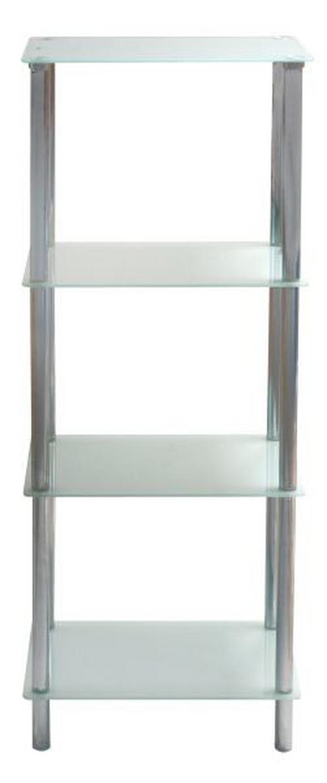 Regal Fina 3 - bela/krom, Moderno, kovina/steklo (40/100/30cm) - Mömax modern living