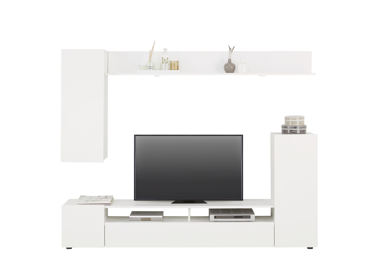 Schon Wohnwand In Weiß Hochglanz   Silberfarben/Weiß, MODERN,  Holzwerkstoff/Kunststoff (208