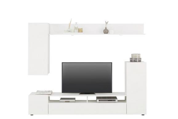 Wohnwand Weiß Hochglanz - Silberfarben/Weiß, MODERN, Holzwerkstoff/Kunststoff (208/165/33cm) - Based