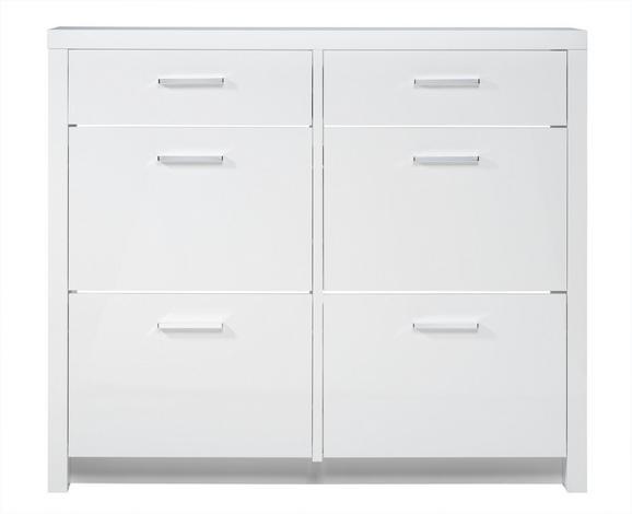 Schuhschrank in Weiß Hochglanz - Chromfarben/Weiß, MODERN, Holzwerkstoff/Kunststoff (121,4/106,4/28cm) - MÖMAX modern living