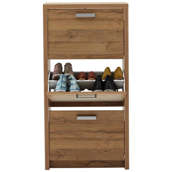 Schuhkipper Eiche - Eichefarben/Alufarben, MODERN, Holzwerkstoff/Kunststoff (64/125/24cm) - Mömax modern living