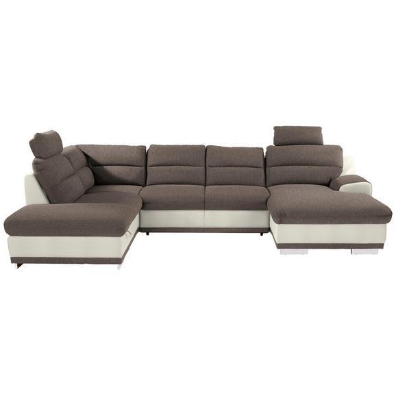 Sedežna Garnitura Seaside - sivo rjava/bela, Konvencionalno, kovina/tekstil (218/334/165cm) - Premium Living