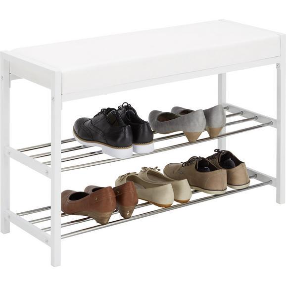 Garderobenbank Weiß - Chromfarben/Weiß, MODERN, Textil/Metall (80/30/52cm) - Mömax modern living