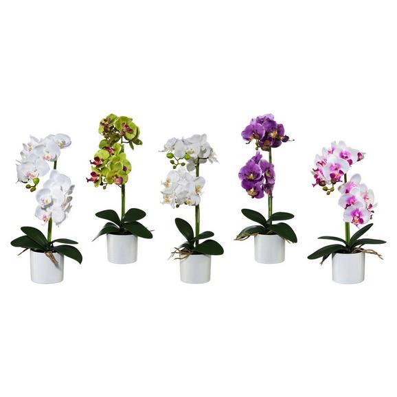 Kunstpflanze Maren verschiedene Farben - Lila/Weiß, ROMANTIK / LANDHAUS, Kunststoff/Metall (45cm)