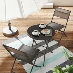 Balkonset Ana - Grau, MODERN, Glas/Textil - Modern Living
