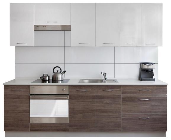 Konyhablokk Clarisa - sötétszürke/fehér, modern, faanyagok (240cm)