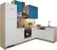Kotna Kuhinja Win - modra/hrast, leseni material (280/175cm) - Express