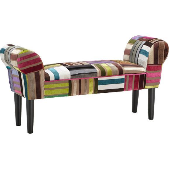 Bancă Pentru Hol Velvet - multicolor/negru, lemn/textil (100/50/32cm)