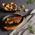 Bratpfanne Steaky inkl. Servierbrett - Schwarz/Naturfarben, KONVENTIONELL, Holz/Metall (37,5/18,5/3,5cm) - Premium Living