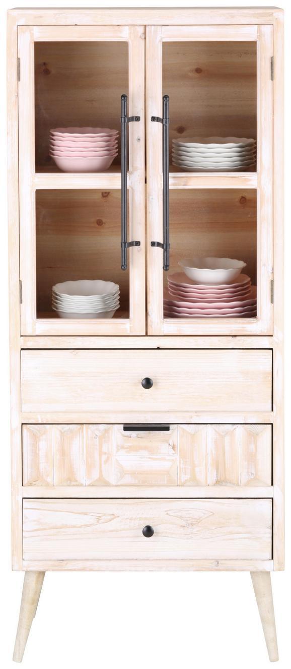 Vitrine Weiß Tannenholz - Klar/Schwarz, LIFESTYLE, Glas/Holz (59,7/143,5/30,5cm) - Mömax modern living