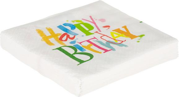 Serviette Birthday Dance in Weiß/Bunt - Multicolor/Weiß, Papier (33/33cm)