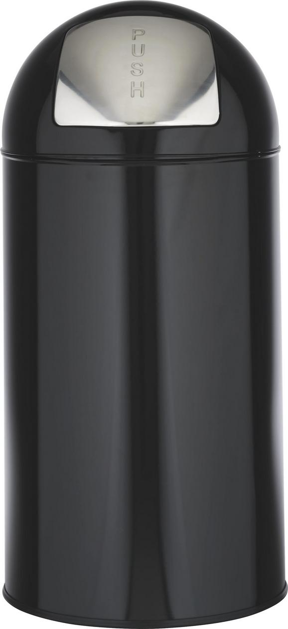 Abfalleimer Push Can S in Schwarz - Edelstahlfarben/Zinkfarben, Metall (35/76cm) - Mömax modern living