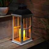 Laterne inkl. LED-Kerze Hca.51cm 'Bastian' - Schwarz/Weiß, MODERN, Glas/Holz (22/19/51cm) - Bessagi Home