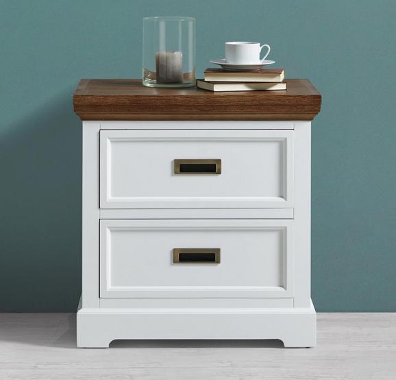 Nachttisch Melanie - Weiß/Kieferfarben, MODERN, Holz/Metall (59/60/48cm) - Modern Living