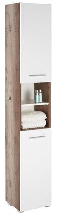 Hochschrank Weiß/Eiche - Eichefarben/Alufarben, MODERN, Holzwerkstoff/Kunststoff (32,5/186,5/30,5cm) - Mömax modern living