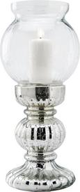 Kerzenhalter Charline inkl. Glas H ca. 45 cm - Silberfarben, KONVENTIONELL, Glas/Metall (20/45cm) - Mömax modern living