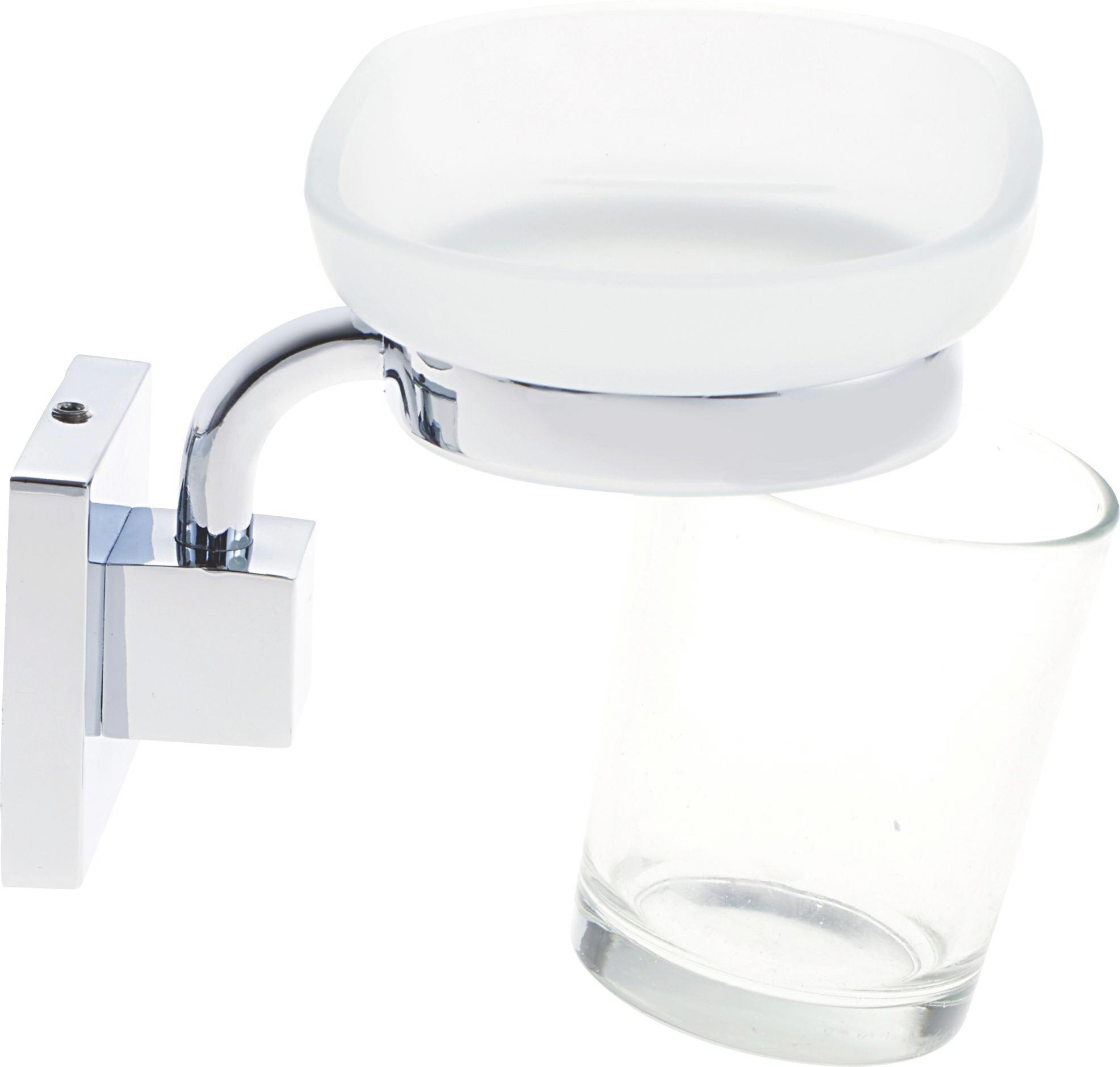 Szappantartó Mare   -sb- - ezüst színű/fehér, üveg/fém (13/6/12cm)