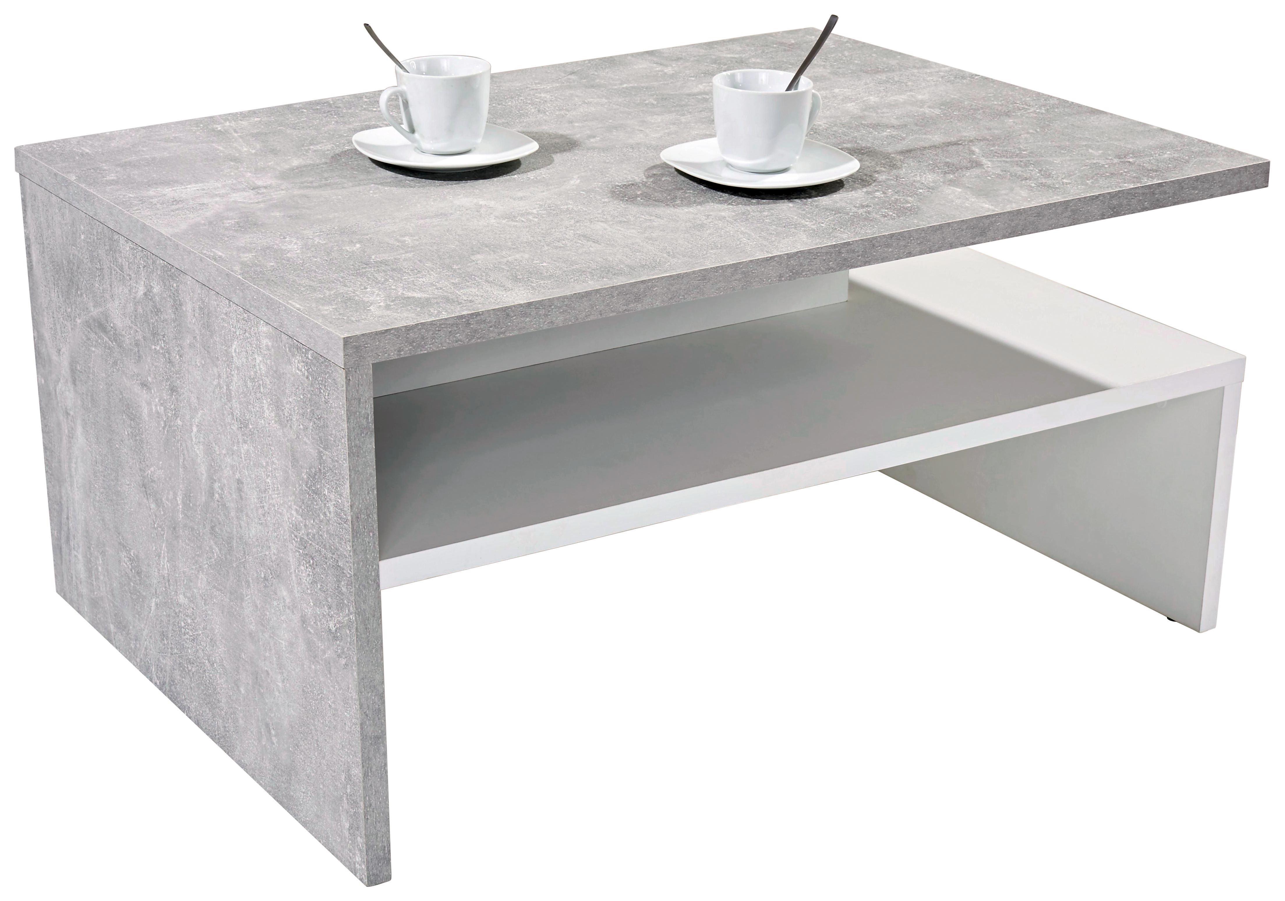 Dohányzóasztal Laura - fehér/szürke, modern, faanyagok (90/42/60cm)
