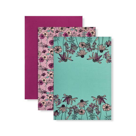Geschirrtuch-Set Flowerfield 3-teilig - Flieder/Mintgrün, ROMANTIK / LANDHAUS, Textil (50/70cm) - Mömax modern living