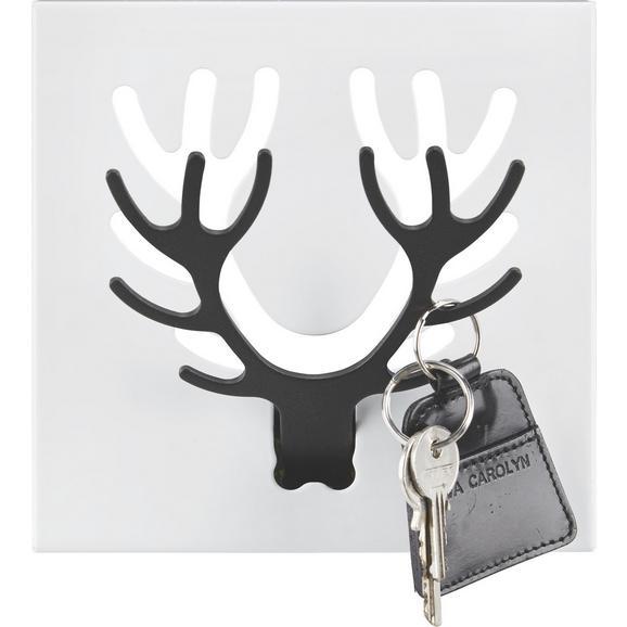 Stenski Obešalnik Rudolf - črna/bela, Moderno, kovina (17.5/17.5/2.5cm)