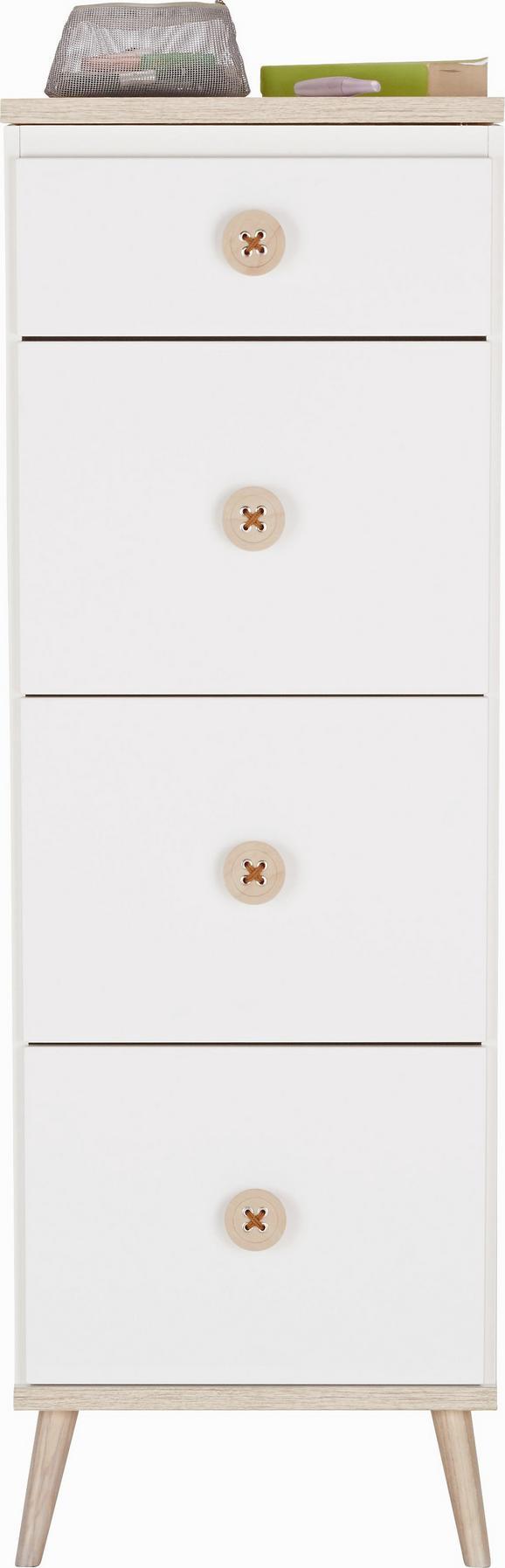 Komoda Billund - hrast/bela, Moderno, leseni material/les (46/121/40cm) - Modern Living
