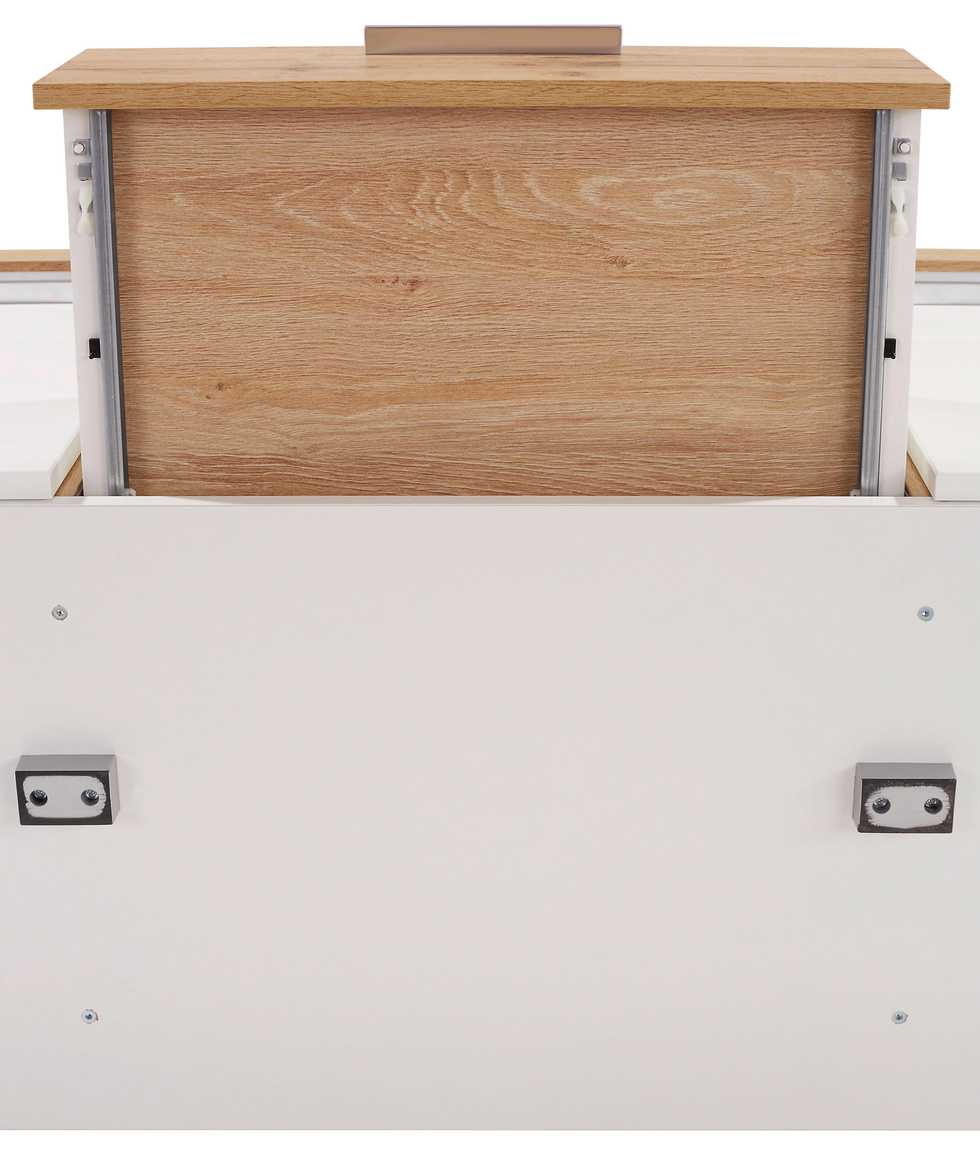 Tálalószekrény Eleganza - tölgy színű/fehér, modern, üveg/faanyagok (179,9/87.3/38cm)