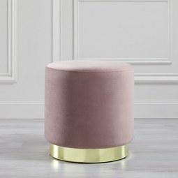Hocker Julene - Goldfarben/Rosa, MODERN, Textil/Metall (38/40cm) - Modern Living
