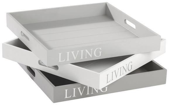 Servirni Pladenj Lena - siva/bela, Romantika, les (40/40/5cm) - Mömax modern living