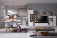 TV-Element Weiß/Eichefarben - Chromfarben/Eichefarben, MODERN, Holzwerkstoff/Metall (160/54/47cm) - Modern Living