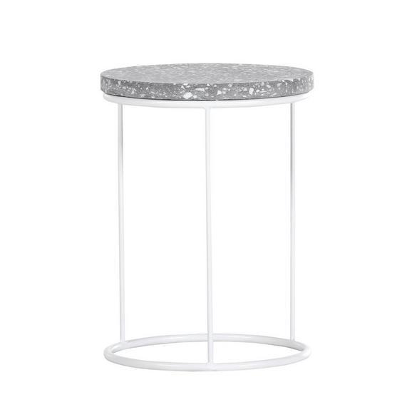 Beistelltisch in Weiß - Weiß, MODERN, Stein/Metall (30/40cm) - Premium Living