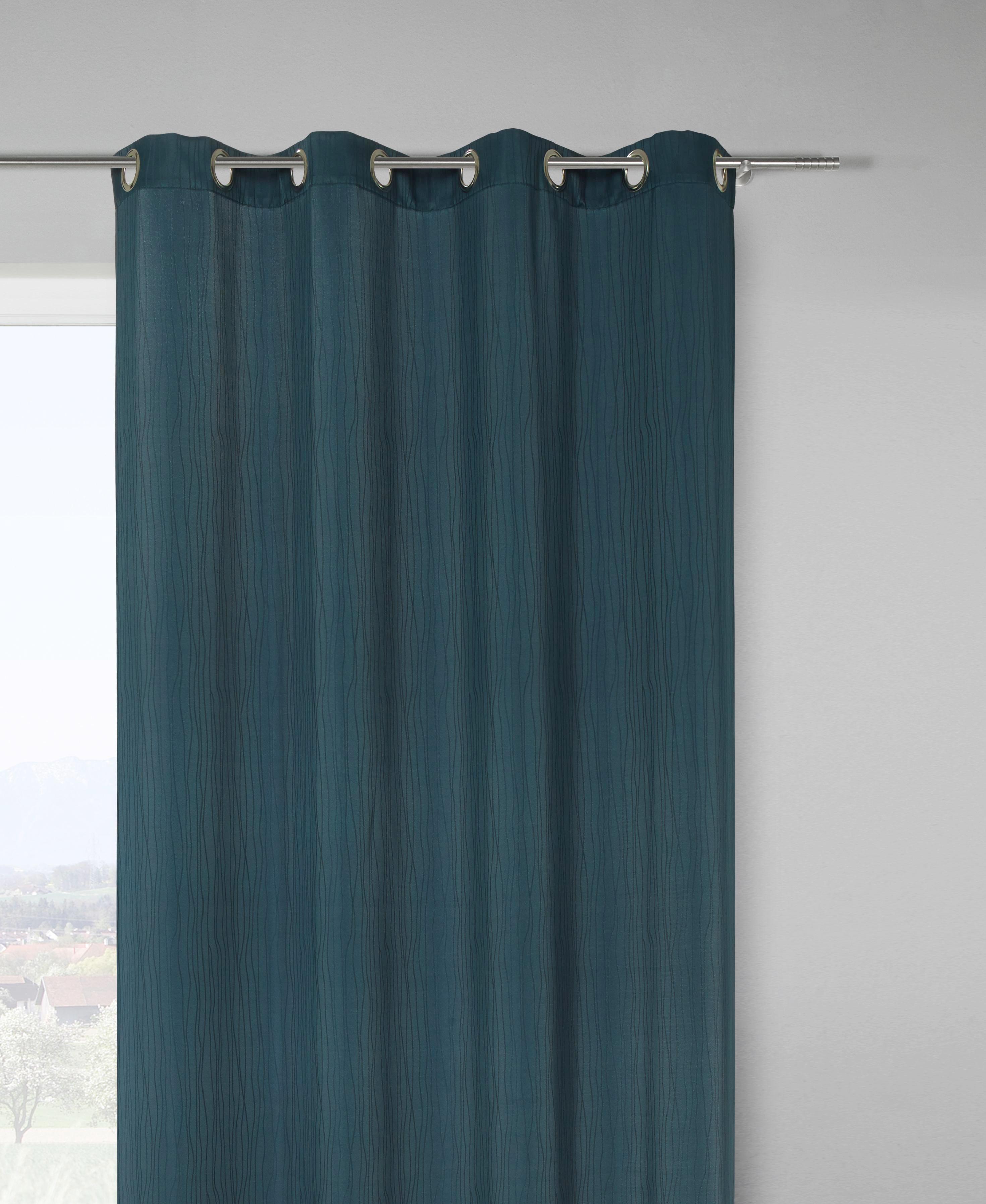 Készfüggöny Ronni - petrol, konvencionális, textil (140/245cm) - MÖMAX modern living
